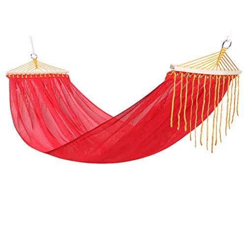 RSdfjlfjd Tweepersoonsbed, hoge weerstand, net, hangmat voor outdoor/tuin, camping, Leisure draagbare strand, Swing Bed, boom, hangmat 190x150cm(75x59inch) Rood