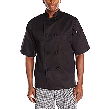 Dickies Men s Luigi Chef Coat Short Sleeve with Cloth Knot Buttons Black XXX-Large