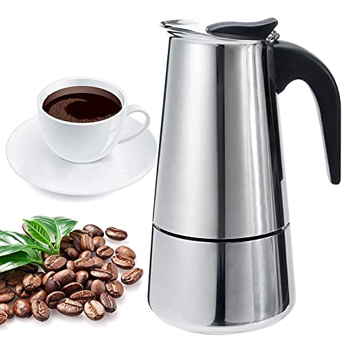 Stovetop Espresso Maker-Moka Pot: Italian Coffee Maker for Office, Home,Classic Cafe Percolator Maker(200ml/6.76oz/4 cup,espresso cup=50ml), Stainless Steel, ,For Induction Cookers,Gas