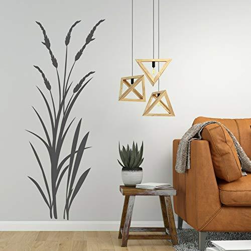 tjapalo® v21 Wandtattoo Schilf Strauch Dekoration Wandaufkleber Wandtattoo Wohnzimmer pflanzen Wandtattoo pflanzen und Gräser, Farbe: braun (kaffee), Größe: H94XB38cm