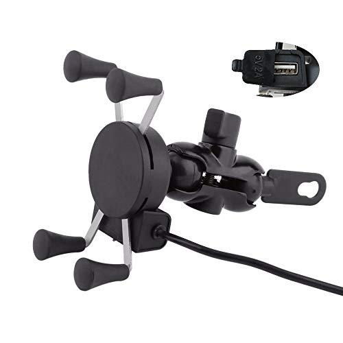 Soporte de teléfono para motocicleta con puerto de carga USB/banda de seguridad, universal para iPhone, Samsung y GPS de 3,5 a 6 pulgadas