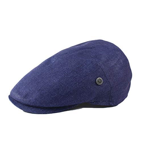 Bugatti Flatcap Herren Schiebermütze Kappe Sommer 100% Leinen Blau (57)