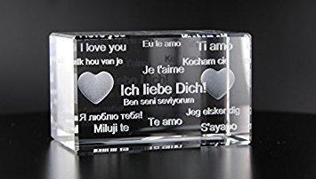 VIP-LASER 3D Glas Kristall Quader XL mit Text 'Ich Liebe Dich!' in verschiedenen Sprachen! Das tolle Geschenk für einen liebenden Menschen!