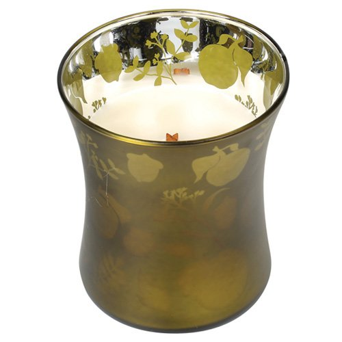 Woodwick Apfelkorb Duftkerze im Glas matt mit Apfelmuster dekoriert 275 g, grün/weiß, 9.8 x 9.8 x 11.9 cm