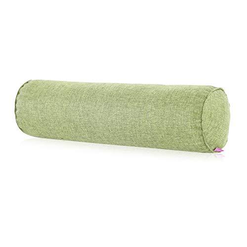 Olymajy Bolster Cushion, Yoga Bolster, Cojín de Soporte de Almohada de Cuello de Lino de algodón de 15x40 cm, Rollo de Refuerzo Verde Hierba Natural para Yoga y recuperación de Lesiones