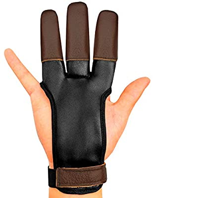 Archery Glove Finger Tab Accessories - Leather Gloves for Recurve & Compound Bow - Three Finger Guard for Men Women & Youth (Small)