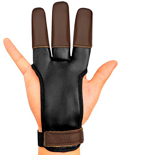 KESHES Archery Glove Finger Tab Accessories - Leather Gloves for Recurve & Compound Bow - Three Finger Guard for Men Women & Youth (Small)