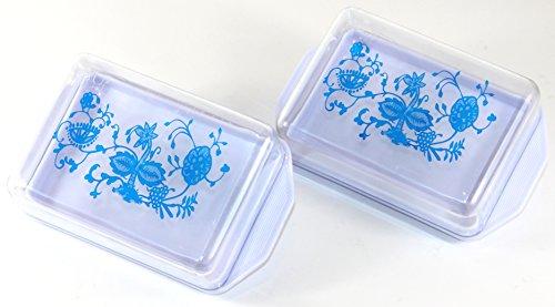 Kühlschrankbutterdose 2 Stk -K&B Vertrieb- Butterdose mit Deckel Butter Dose Kühlschrank Zwiebelmuster 596