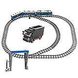 MYRCLMY Tren De La Ciudad Railo Impulsado por El Motor, Tren Electric Track Coche Ladrillos Creador Estación De Tren Técnico Bloques De Construcción Juguetes para Niños 6+ Cumpleaños,Azul