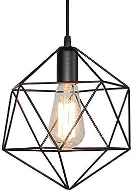 LITFAD Industrial Modern Geometric Cage Pendant Light Iron Ceiling Hanging Light 1-Light LED Pendant Lighting with Adjustable