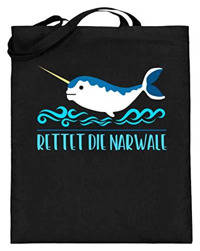 Chorchester Rettet Die Narwale Für Alle Tier Fans - Jutebeutel (mit langen Henkeln) -38cm-42cm-Schwarz