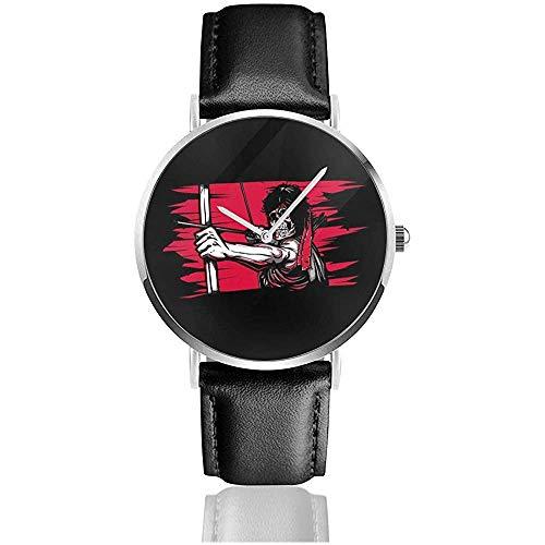 Unisex Business Casual Erste Blutskelett Rambo Uhren Quarz Leder Uhr