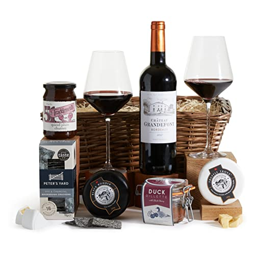 Wine, Truffle Cheese & Duck Rillette Gift Hamper - Wine and Cheese Hampers - Luxury Gift Baskets