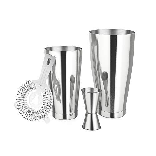 Cocktail Shaker Set,4 Piece Bartender Kit for Drink Mixing,18oz Unweighted and 28oz,Includes Cocktail Shaker, Cocktail Strainer,Double Jigger-Professional Bar Drink Mixing Supplies,Silver