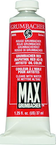 Grumbacher Max Water Miscible Oil Paint, 37ml/1.25 oz, Grumbacher Red (Naphthol)