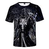 Photo de Thursday Templar Knight T-Shirt Unisexe à Manches Courtes Pull Médiéval Croisé Cosplay 3D Imprimé Ras du Cou T-Shirt