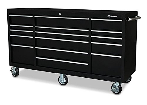 Montezuma Tool Box - 56' 11-Drawer Roller Cabinet with 20 Gauge Steel Construction & Black Powder Coat Finish - BK5611TC