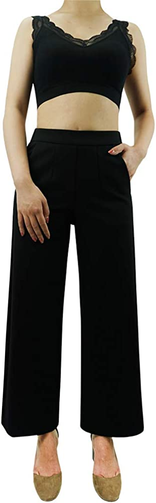 J.520 Women's Casual Wide Leg Cropped Black Dress Pants Pull On Trousers Made in USA