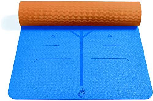 Sosila Yogamatte, Gymnastikmatte, 6mm TPE ECO Matte, rutschfest, umweltfreundlich, hypoallergen, hautfreundlich, für Yoga Pilates Gymnastik Fitness, mit Tasche Trageband 183x61x0,6cm (Blau-Braun)