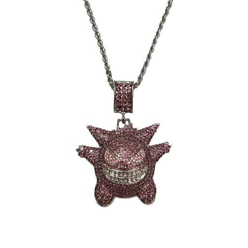 Urbanice - Collar Gengar Hip Hop Diamantes Pokemon con Cadena Fantasma (Trap) 60cm (Purpura)