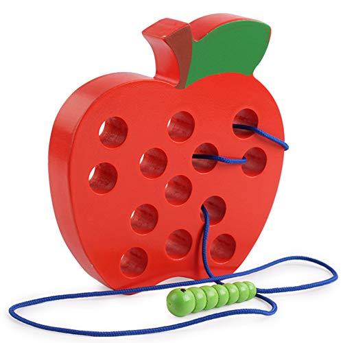 O-Kinee Holz Fädelspiel Apfel Fädelspiel Holz Baby Lernspielzeug Fädelspielzeug, früh Lernen Feinmotorik Pädagogisches Geschenk Aktivitäts Spielzeug für Baby und Kleinkind