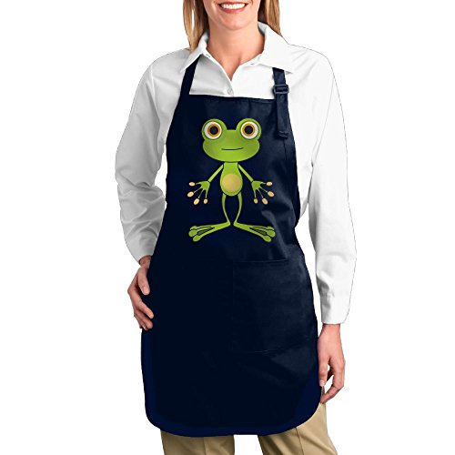 Dogquxio Cartoon Frog Kitchen Helper Professional Bib Apron With 2 Pockets For Women Men Adults Navy