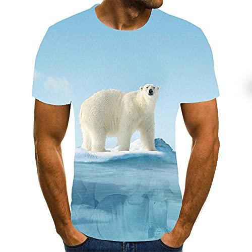 HGFHKL T-Shirt da Uomo a Maniche Corte con Stampa 3D Orso Polare Bianco T-Shirt Estiva Casual Girocollo Modello Divertente