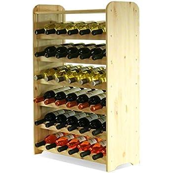 MODO24 Scaffale Vino, 36 Bottiglie, Legno, Non trattato, 91,4x62,6x26,5 cm, 7 unità