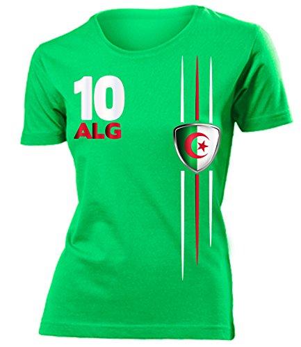 Algerien 4301 Fussball Fanshirt Fan Shirt Tshirt Fanartikel Artikel Frauen Damen T-Shirts Grün M
