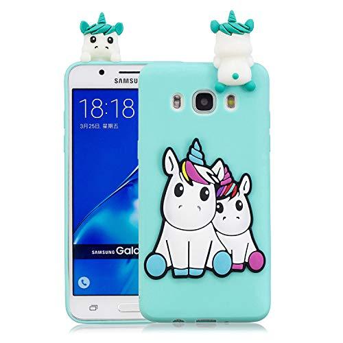 Funluna Funda Samsung Galaxy J7 2016, 3D Unicornio Patrón Cover Ultra Delgado TPU Suave Carcasa Silicona Gel Anti-Rasguño Protectora Espalda Caso Bumper Case para Samsung Galaxy J7 2016