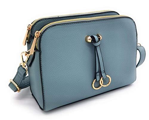 ELIOX Borsa a Tracolla Donna Piccola con 3 Scomparti Capienti - Borsa Mano PU Pelle Sintetica - Borsetta Moda Borse Spalla- Crossbody Bag (Azzurro)