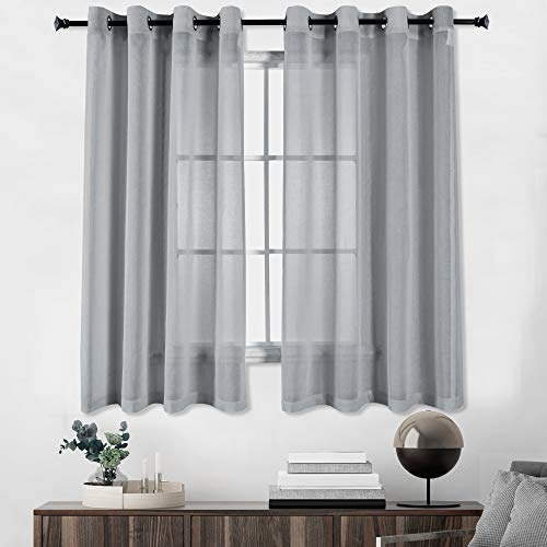 HUTO Grey Sheer Curtains Linen Look Semi Transparent Voile Grommet Solid Window Curtains for Living Dining Room Bedroom 52x63 inch Set of 2 Panels