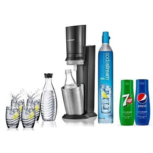 Sodastream pack spécial machine crystal en alu brossé gris/noir + 2 carafes en verre de 0.6L, 4 verres, 1 concentré Pepsi et 1 concentré 7Up