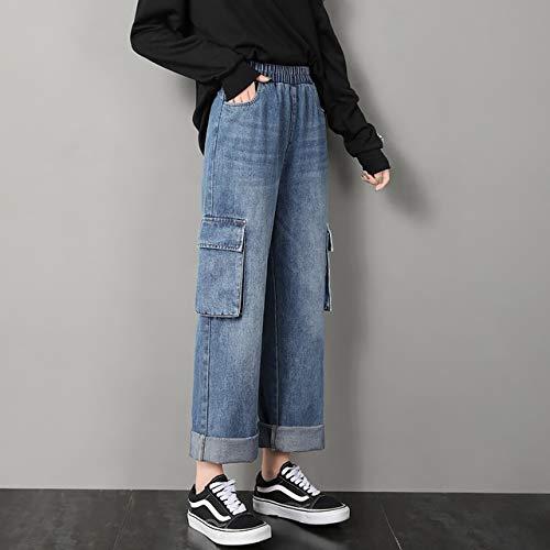 FDBVDKZ Dames jeans Jeans Meisjes Loose Fall Grote-pocket Retro Student Street Kostuum Hoge Taille Taille Breedbenige Broek