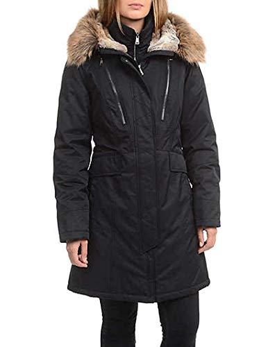1 Madison Maxi Down Coat with Detachable Faux Fur Hood for Women (Black, Medium)