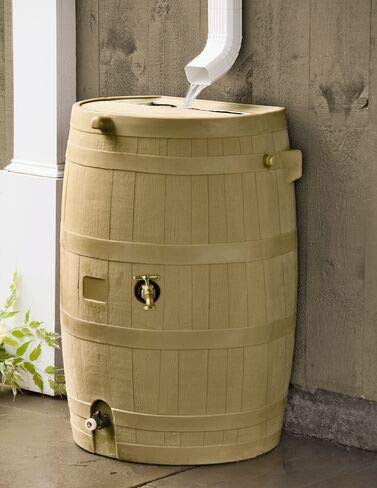 Gardener's Supply Company Flat-Back Rain Barrel, Oak