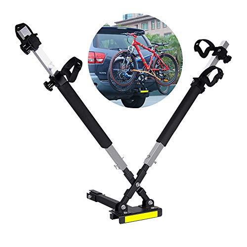 WVIVW Portabicicletas Porton Trasero Universal 2 Bicis Interfaz Cuadrada Portabicis para Coche Bicicletas Plegable Porta-Bicis Auto Soporte de Bici baca para Bicicletas Bike Acero Carga 45kg