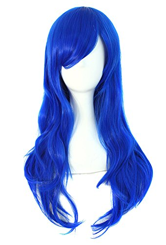 "MapofBeauty 28"" 70cm Long Curly Hair Ends Costume Cosplay Wig (Navy Blue)"
