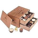 Chocolaterie - Vielen Dank | 20 Pralinen | Holzkästchen enthält zwei Schubladen| Schokolade | Handgemacht|Das Dankeschön für Frauen und Männer