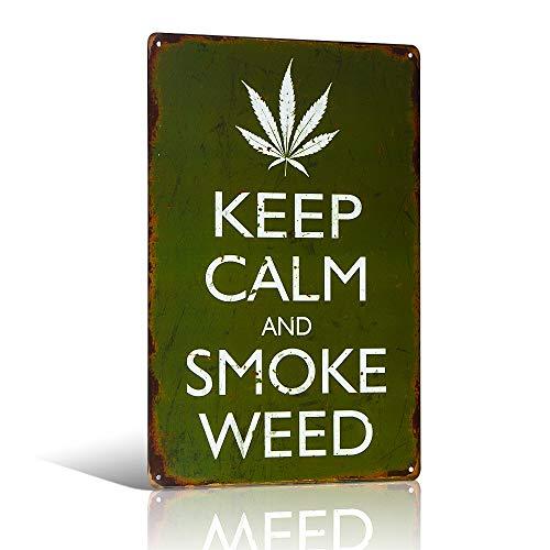 Vintage Style Metal Sign Keep Calm and Smoke Weed