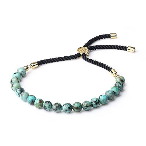 COAI Pulsera para Mujer Ajustable con Turquesa Africana y Cordón Espiral de Nylon con Cierre Amuleto Árbol de la Vida