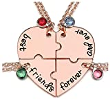 Jovivi Best Friends Forever and Ever Necklaces for 4 Alloy Heart...