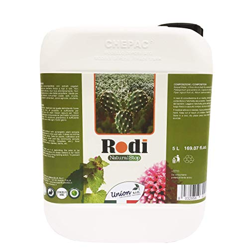 Rodi Natural Stop Repellente Per Topi - Scaccia Topi, Per Esterno E Interno, Anti Topo, Scaccia Ratti Professionale, Ecologico, Made In Italy - 5Litri