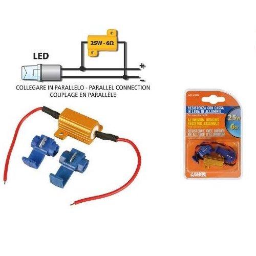 Résistance 6 Ohm 25 W PILOT pour clignotants moto, boîtier en aluminium pour LED 45506, 1 résistance avec connecteurs rapides pour chaque clignotant.