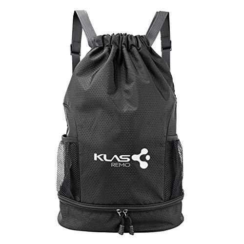 KLAS REMO Mochila de deporte, bolsa de deporte, bolsa de deporte, bolsa impermeable, mochila de viaje, unisex, para deportistas, fitness, color negro