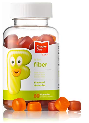 Chapter One Fiber Gummies, with Natural Chicory Root Soluble Fiber, Certified Kosher, 60 Flavored Gummies