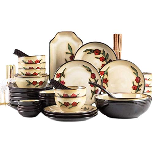 WECDS-E Platos y vajilla creativos de la vajilla de cerámica, vajilla Anti-escaldaduras Espesada para el hogar