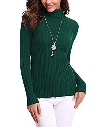 Aibrou Jersey de Cuello Alto para Mujer Sólido Ligero Suave Elástico Manga Larga Pull-Over Suéter ( Verde , S )