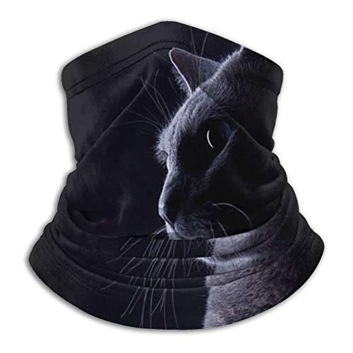 Towel&bag Lindo gato calentador de cuello de microfibra bufanda para clima frío deportes al aire libre negro