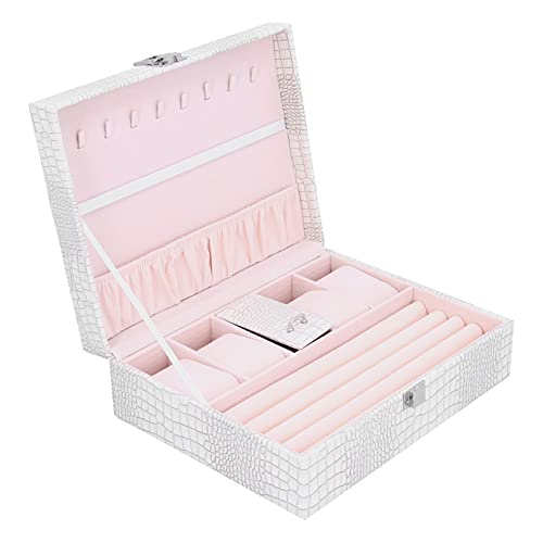HERCHR Jewelry Organizer Box, White Jewelry Case for Women Girls, Necklace Earrings Rings Bracelets Watch, 23.8 x 18.8 x 8cm